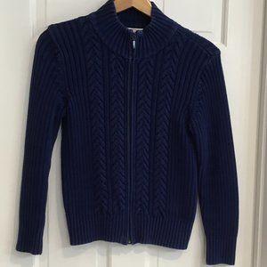 VTG Talbots Cableknit Royal Blue Zip Sweater XS